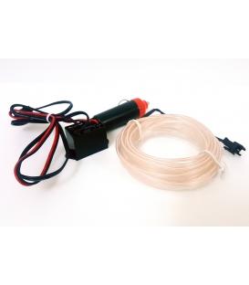 El Wire Neon Led Beyaz 3 Metre  DC12V İnverter Dahil