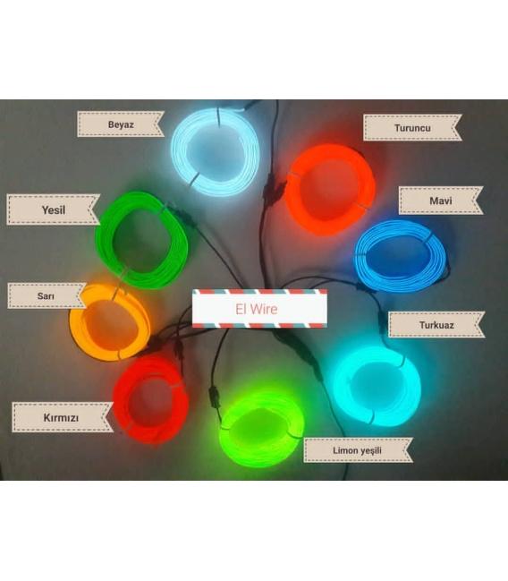 El Wire Neon Led Turuncu 3 Metre  DC12V İnverter Dahil