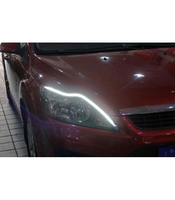 Far Kaşı Gündüz Ledi Audi Stil Kayar Sinyalli Flexible Neon Led Beyaz-Sarı 60cm