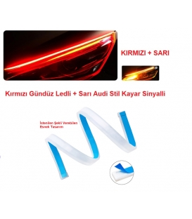 Selamlamalı Far Kaşı Gündüz Ledi Audi Stil Kayar Sinyalli Flexible Neon Led Kırmızı-Sarı 60cm