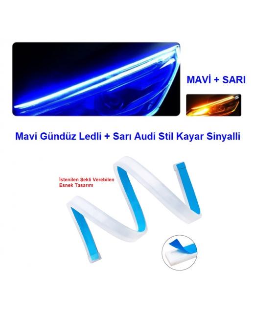 Far Kaşı Gündüz Ledi Audi Stil Kayar Sinyalli Flexible Neon Led Mavi-Sarı 60cm