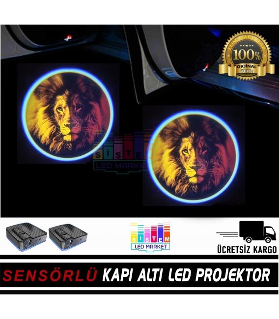 Aslan Figür Mesafe Sensörlü  Fotoselli Pilli Yapıştırmalı Kapı Altı Led Logo