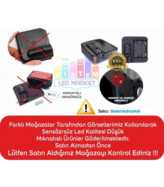 Atatürk İmza Mesafe Sensörlü  Fotoselli Pilli Yapıştırmalı Kapı Altı Led Logo