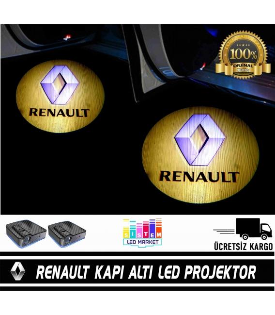 Renault Araçlar İçin Pilli Yapıştırmalı Kapı Altı Led Logo