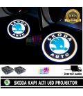 Skoda Araçlar İçin Mesafe Sensörlü  Fotoselli Pilli Yapıştırmalı Kapı Altı Led Logo