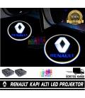Renault Araçlar İçin Mesafe Sensörlü  Fotoselli Pilli Yapıştırmalı Kapı Altı Led Logo
