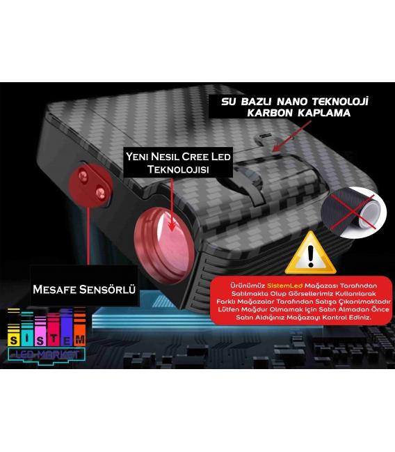 Mazda Araçlar İçin Mesafe Sensörlü  Fotoselli Pilli Yapıştırmalı Kapı Altı Led Logo
