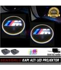 BMW M  Araçlar İçin Mesafe Sensörlü  Fotoselli Pilli Yapıştırmalı Kapı Altı Led Logo